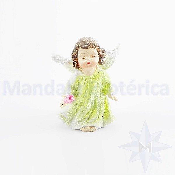 Anjo Verde com uma Rosa nas Mãos B