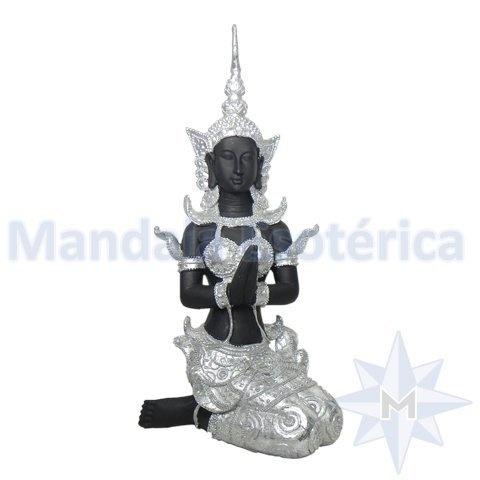 Figura indiana em Resina Preto e Prateado