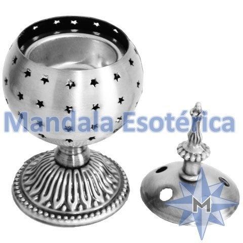 Turíbulo de mesa prata em metal