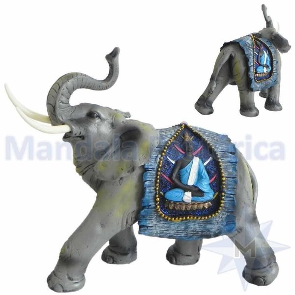 Elefante com Manto Azul de Buda C
