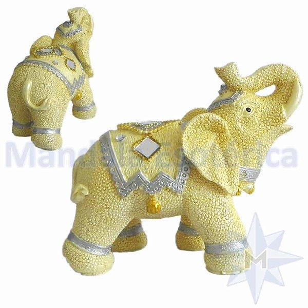 Elefante de Resina Escamado Marfim