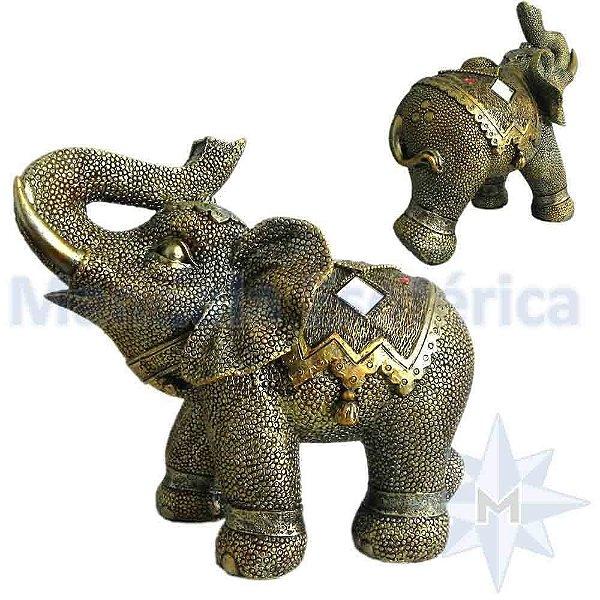 Elefante Grande Escamado Dourado