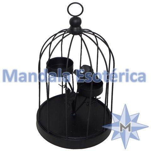 Porta velas gaiola preta com 2 suportes