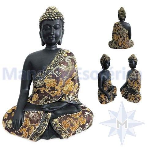 Buda em Preto Bhumisparsa Mudra Gesto de Iluminação