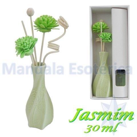 Aromatizador com flor e varetas com perfume de Jasmim