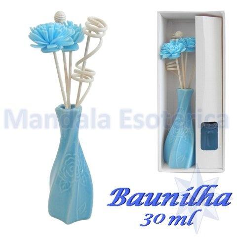 Aromatizador com flor e varetas com perfume de Baunilha