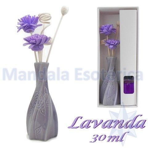 Aromatizador com flor e varetas com perfume de Lavanda
