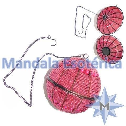 Porta Vela Suspenso bola de metal com miçanga rosa