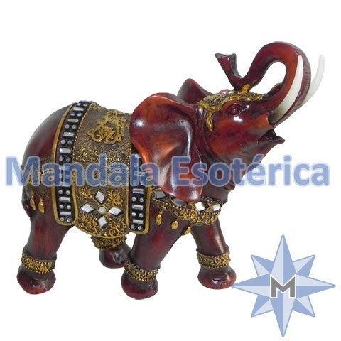 Elefante marrom de resina com manto dourado pequeno