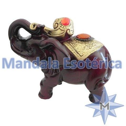 Elefante marro de resina com pedras - ER-66418