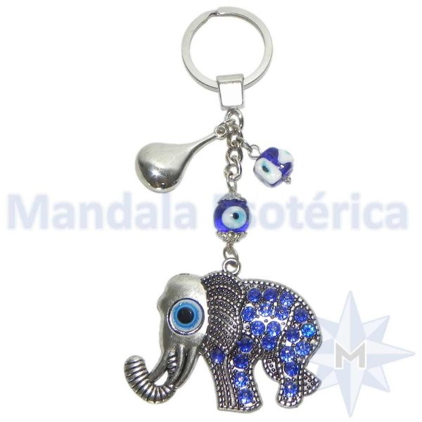 Chaveiro Elefante Azul e Olho Grego
