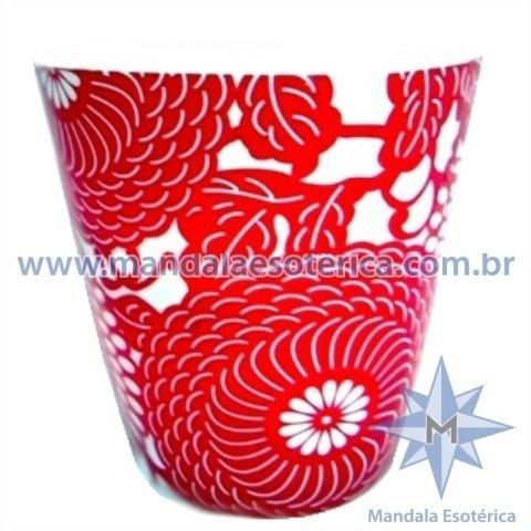 Porta-Velas em Cerâmica Estampada Vermelha