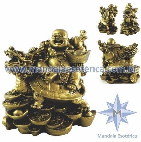 Buda na tartaruga e dragão dourado