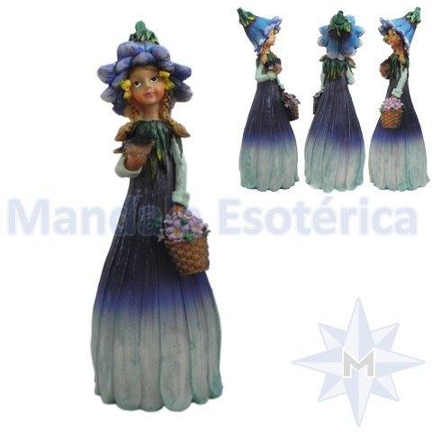Menina Flor com Cesto de lores e Passarinho