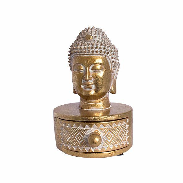 Porta Joias Cabeça de Buda Dourado