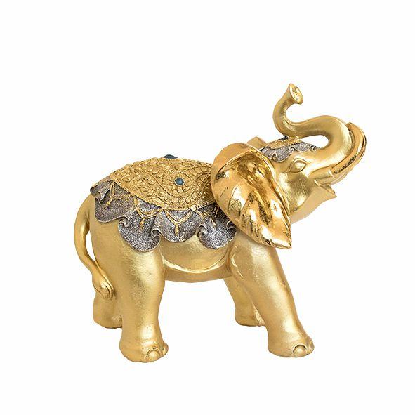 Elefante Dourado com Castiçal - Grande