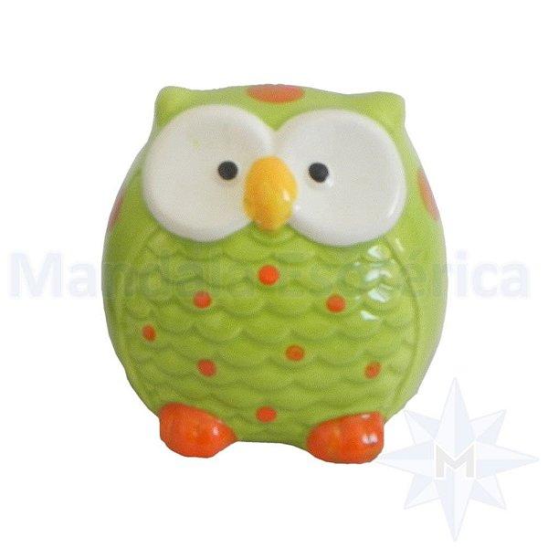 Cofre Cerâmica Coruja Verde
