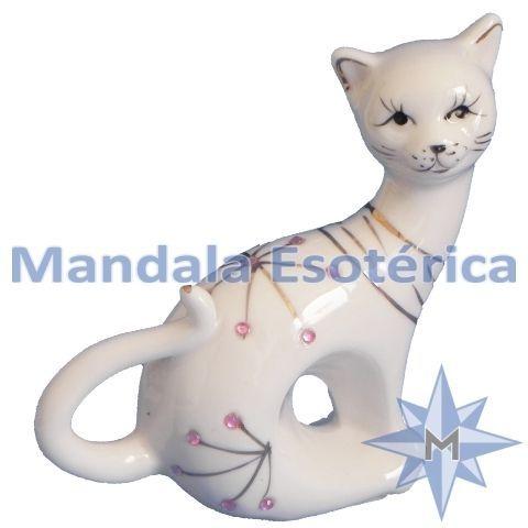 Gato Sentado em Porcelana