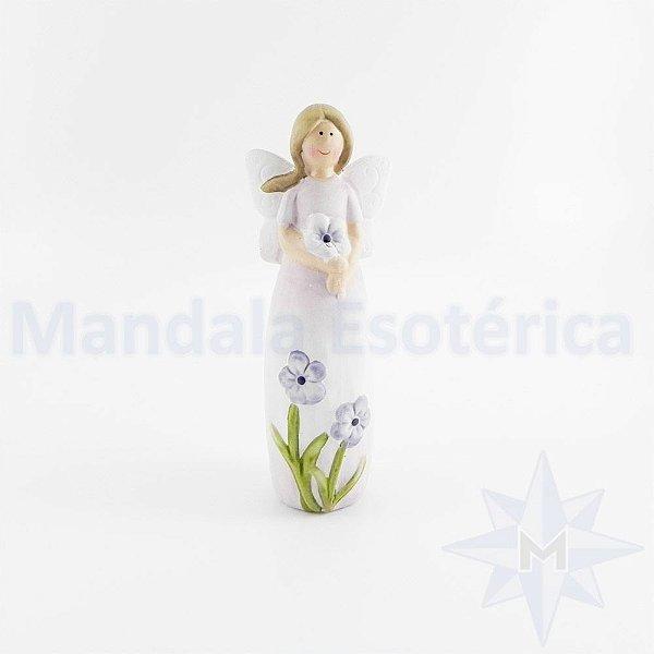 Fadinha do Natal em Cerâmica Lilas com Flores P