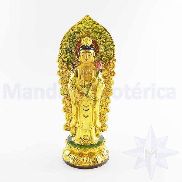 Kuan Yin Com Flor Espelhada Ouro