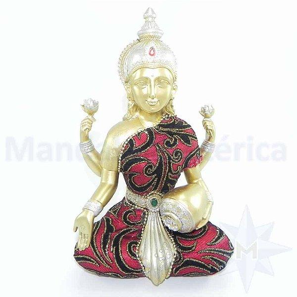 Lakshmi Dourada com tecido Indiano