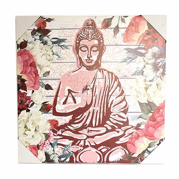 Quadro Decorativo Buda Floral Modelos Variados 50x50 Cm