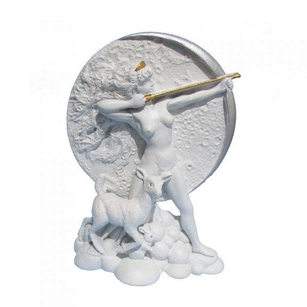 Deusa Ártemis na Lua - Diana Branca