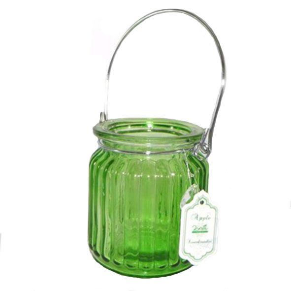 Porta Velas de Vidro Apple Verde