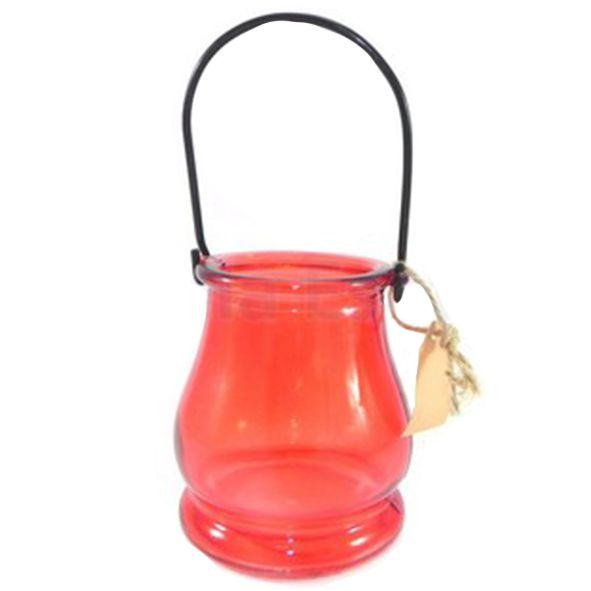 Porta Velas de Vidro Vermelho
