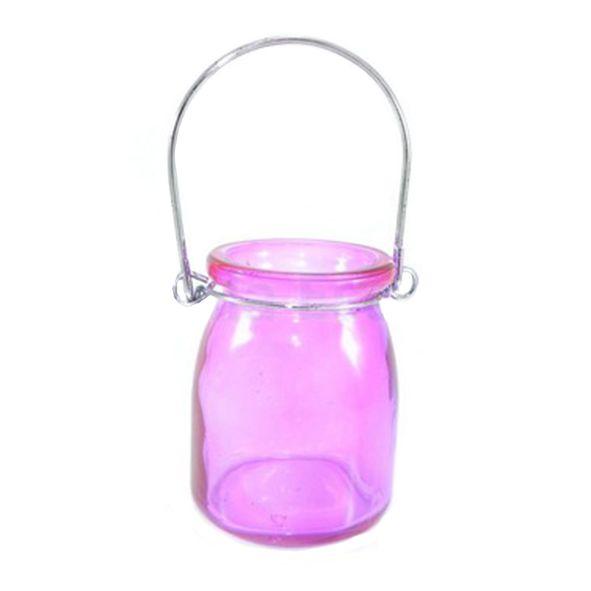 Porta Velas de Vidro Liso Rosa
