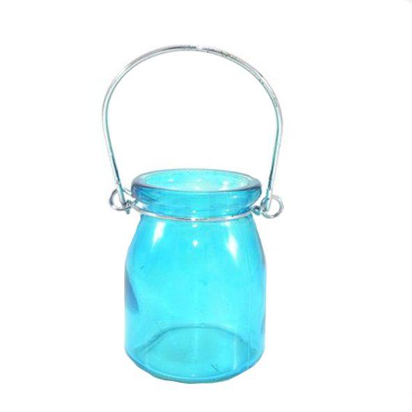 Porta Velas de Vidro Liso Azul