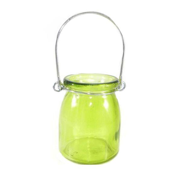 Porta Velas de Vidro Liso Verde