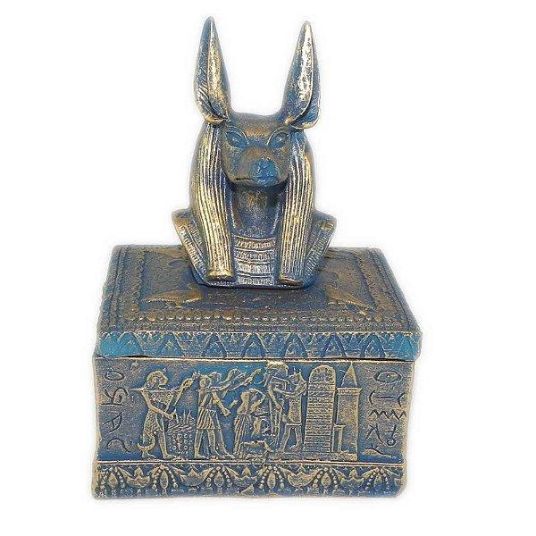 Porta Jóias de Anúbis detalhes em azul
