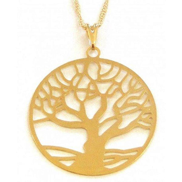 Gargantilha Árvore da Vida com Aro Banho de Ouro