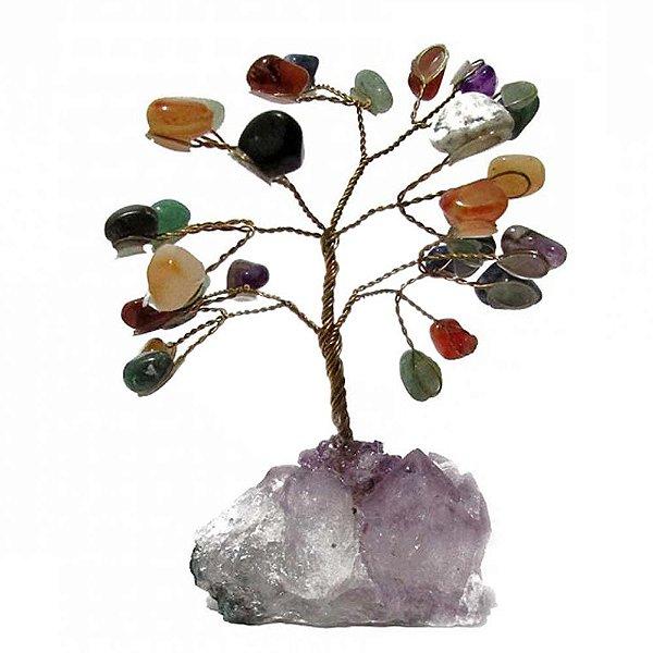 Árvore Mix de Pedras com Base de Drusa Ametista Bruta Pequena