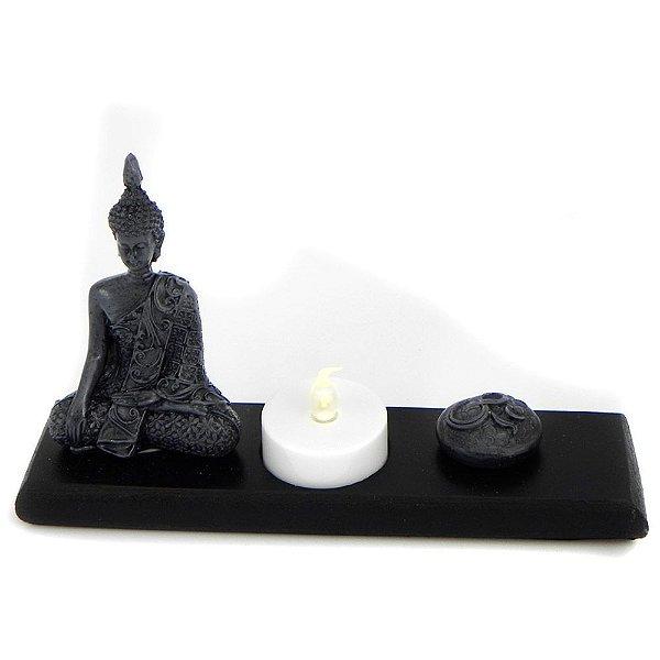 Porta vela Buda e OM com vela de LED