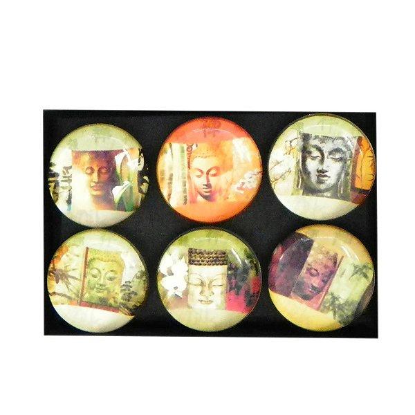Conjunto com 6 imãs de vidro com face de Buda