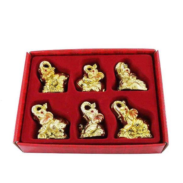 Kit com 6 elefantes dourados
