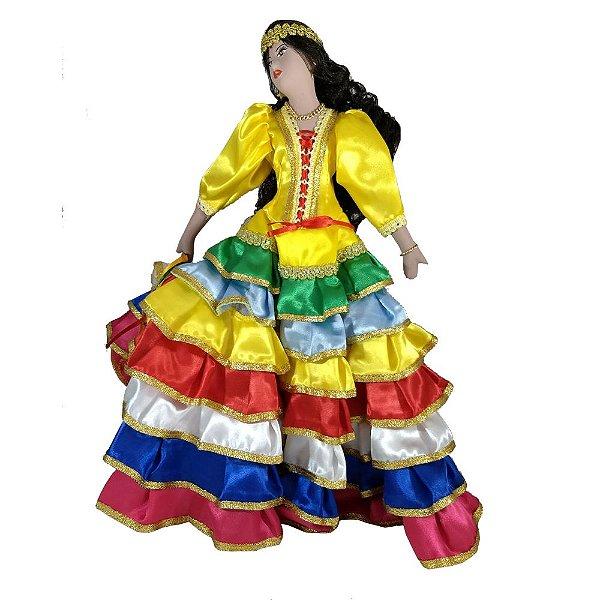 Cigana de Cerâmica com a roupa 7 Saias