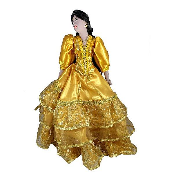 Cigana de Cerâmica com a roupa Dourada