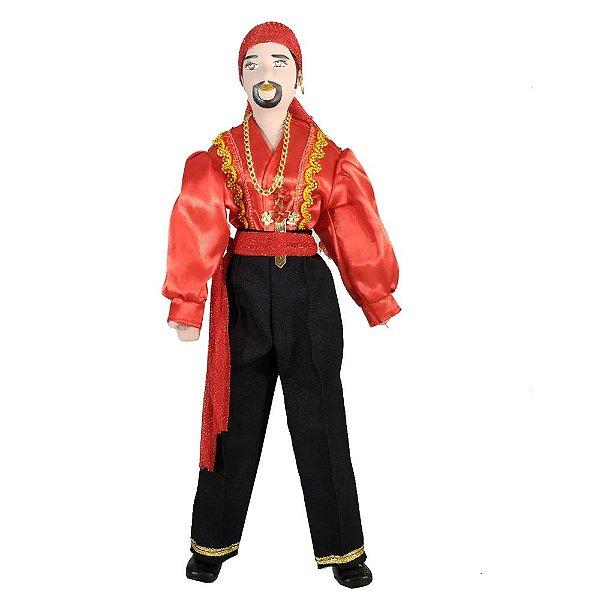 Cigano de Cerâmica com a roupa Vermelha