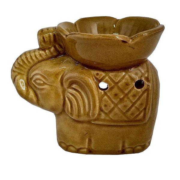 Rechô Elefante com Flor de Cerâmica