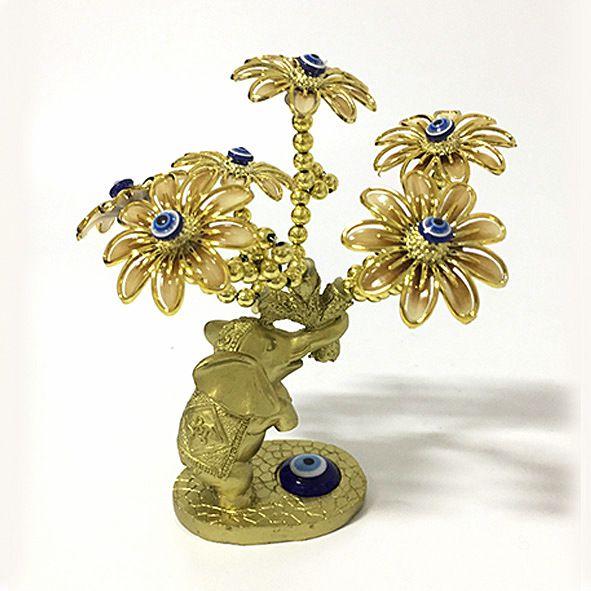 Árvore Dourada Flores Marrons com Elefante e Olho Grego