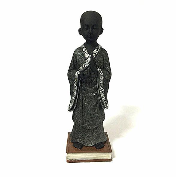 Monge em Pé no Livro Meditando