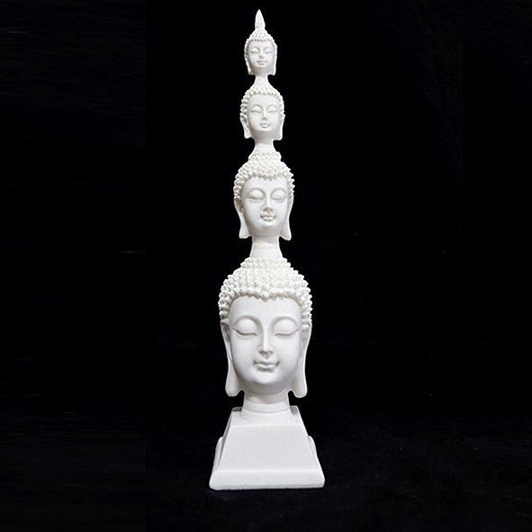 Estatueta Torre de Cabeças de Buda Hindu Branca