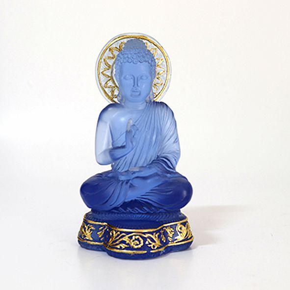 Buda Sentado Meditando Azul