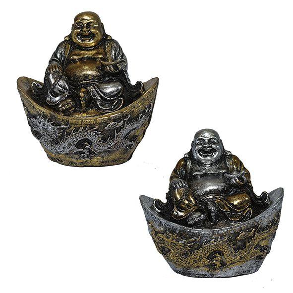 Buda da Fortuna Prata e Dourado
