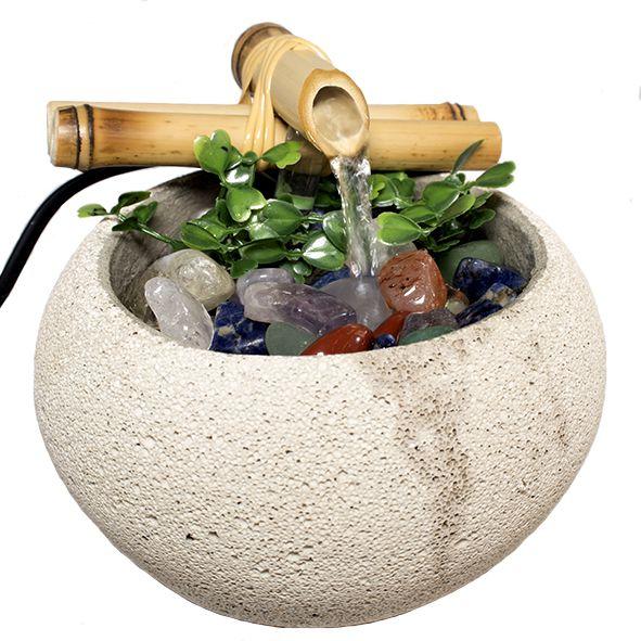 Fonte Cimento com Pedras dos 7 Chakras