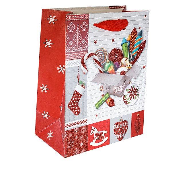Kit Sacola Para Presente Natal - 12 Unidades P