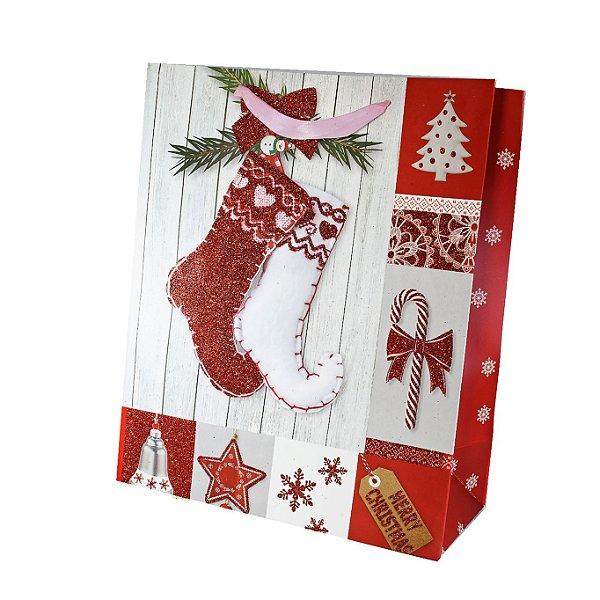 Kit Sacola Para Presente Natal - 12 Unidades M